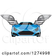 Clipart Of A Blue Sports Car With Window Tint And Wings Royalty Free Vector Illustration by Lal Perera
