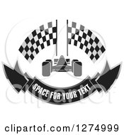 Clipart Of A Race Car With Racing Flags And A Banner Design Royalty Free Vector Illustration