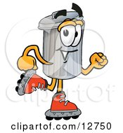 Clipart Picture Of A Garbage Can Mascot Cartoon Character Roller Blading On Inline Skates