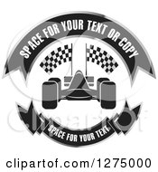 Clipart Of A Race Car With Banners Design Royalty Free Vector Illustration