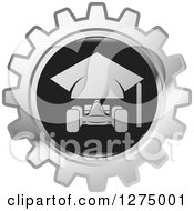 Clipart Of A Silver And Black Race Car Gear Icon Royalty Free Vector Illustration