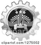Clipart Of A Silver And Black Race Car Gear Icon 2 Royalty Free Vector Illustration