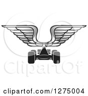 Clipart Of A Black Race Car And Silver Wings Royalty Free Vector Illustration