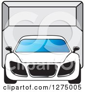 Clipart Of A Sports Car Or Van In A Room Royalty Free Vector Illustration