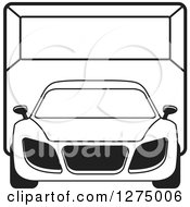 Clipart Of A Black And White Sports Car Or Van In A Room Royalty Free Vector Illustration by Lal Perera