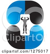 Clipart Of A Flexing Silhouetted Body Builder Inside Blue And Black Steroid Pills Royalty Free Vector Illustration