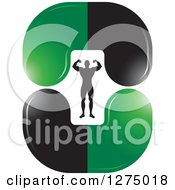 Clipart Of A Flexing Silhouetted Body Builder Inside Green And Black Steroid Pills Royalty Free Vector Illustration
