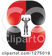 Clipart Of A Flexing Silhouetted Body Builder Inside Red And Black Steroid Pills Royalty Free Vector Illustration