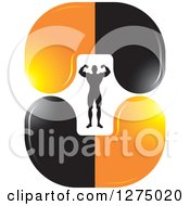 Clipart Of A Flexing Silhouetted Body Builder Inside Orange And Black Steroid Pills Royalty Free Vector Illustration
