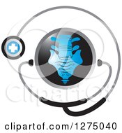 Clipart Of A Medical Stethoscope Around A Blue Spine Royalty Free Vector Illustration by Lal Perera