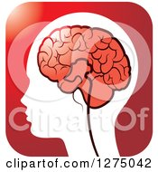 Silhouetted Human Head And Red Brain Icon 2