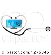 Medical Stethoscope Forming A Heart Around A Blue Family On A Screen