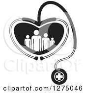 Clipart Of A Black And White Medical Stethoscope Forming A Heart Around A Family Royalty Free Vector Illustration