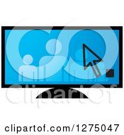 Clipart Of A Cursor Over A Family On A Blue Screen Royalty Free Vector Illustration by Lal Perera