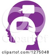 Clipart Of A Purple Parent Silhouetted Head And Child Head With Speech Balloons Royalty Free Vector Illustration by Lal Perera