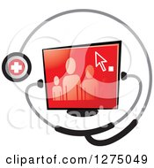 Clipart Of A Medical Stethoscope Around A Family On A Red Screen Royalty Free Vector Illustration by Lal Perera