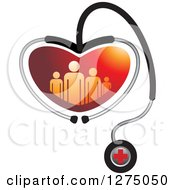 Medical Stethoscope Forming A Heart Around A Red Family