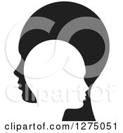 Clipart Of Silhouetted Black And White Child And Parent Heads Royalty Free Vector Illustration by Lal Perera