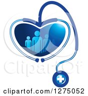 Medical Stethoscope Forming A Heart Around A Blue Family