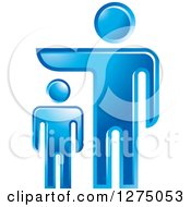 Clipart Of A Blue Father Or Boss Over A Pointing Over A Smaller Man Royalty Free Vector Illustration by Lal Perera