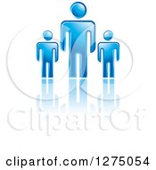 Clipart Of A Blue Father Or Boss With Smaller Men Or Children Royalty Free Vector Illustration by Lal Perera