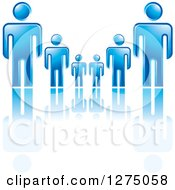 Clipart Of Blue Fathers Or Bosses Over A Smaller Men Or Children Royalty Free Vector Illustration