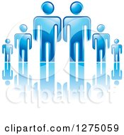 Clipart Of Blue Fathers Or Bosses Over A Smaller Men Or Children 2 Royalty Free Vector Illustration