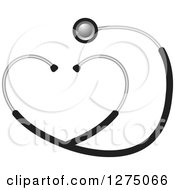 Clipart Of A Grayscale Medical Stethoscope Forming A Heart Royalty Free Vector Illustration