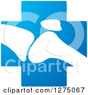 Clipart Of A White Silhouetted Joint On A Blue Cross Royalty Free Vector Illustration