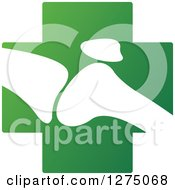 Clipart Of A White Silhouetted Joint On A Green Cross Royalty Free Vector Illustration
