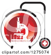 Clipart Of A Medical Stethoscope Around A Red Microscope Royalty Free Vector Illustration by Lal Perera