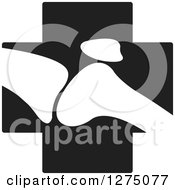 Clipart Of A White Silhouetted Joint On A Black Cross Royalty Free Vector Illustration