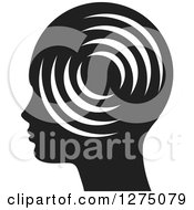 Clipart Of A Silhouetted Black And White Head In Profile With Signals Royalty Free Vector Illustration by Lal Perera