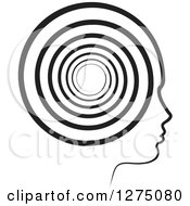 Clipart Of A Silhouetted Black And White Head In Profile With A Spiral Royalty Free Vector Illustration by Lal Perera