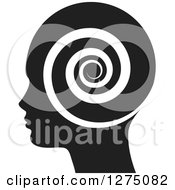 Clipart Of A Silhouetted Black Head In Profile With A Spiral Royalty Free Vector Illustration