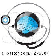 Round Black Icon With A Blue Brain And Medical Stethoscope