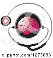 Round Black Icon With A Pink Brain And Medical Stethoscope