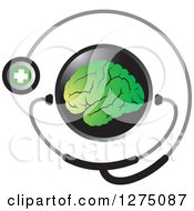 Round Black Icon With A Green Brain And Medical Stethoscope