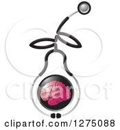 Clipart Of A Medical Stethoscope Forming A Pear Around A Pink Brain Royalty Free Vector Illustration by Lal Perera