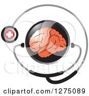 Clipart Of A Round Black Icon With A Red Brain And Medical Stethoscope Royalty Free Vector Illustration by Lal Perera