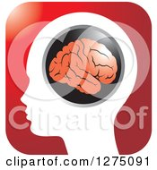 Silhouetted Human Head And Red Brain Icon