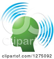 Clipart Of A Silhouetted Green Head In Profile With Blue Signals Royalty Free Vector Illustration by Lal Perera