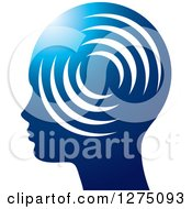 Clipart Of A Silhouetted Blue Head In Profile With Signals Royalty Free Vector Illustration by Lal Perera