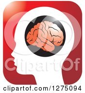 Silhouetted Human Head And Red Brain Icon 3
