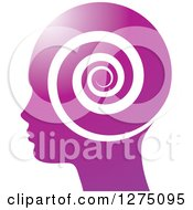 Clipart Of A Silhouetted Purple Head In Profile With A Spiral Royalty Free Vector Illustration by Lal Perera