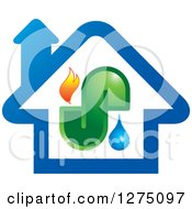 Clipart Of A Blue House With Fire Water And Pipes Royalty Free Vector Illustration by Lal Perera