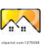 Clipart Of A Yellow Icon With A House Roof Top Royalty Free Vector Illustration