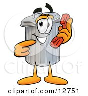 Clipart Picture Of A Garbage Can Mascot Cartoon Character Holding A Telephone
