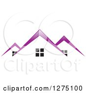 Clipart Of Houses With Purple Roof Tops Royalty Free Vector Illustration