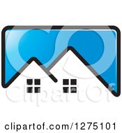 Clipart Of A Blue Icon With A House Roof Top Royalty Free Vector Illustration by Lal Perera